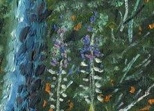 Oljemålning på kanfas Textur av den barrträds- bergskogen stock illustrationer