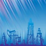 Oljeplattform och pump över blåa lysande strålar. Arkivfoto