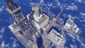Oljeplattform på havet Arkivfoto