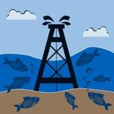 Oljeplattform under vatten med fisken Mineralproduktion royaltyfri foto