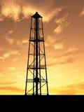 oljeplattformsilhouette Fotografering för Bildbyråer