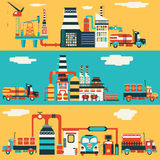 Oljeproduktionfabrik Stock Illustrationer