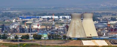 Oljeraffinaderier AB i Haifa, Israel Arkivbilder