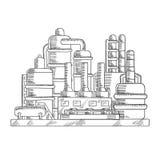 Oljeraffinaderifabriken skissar in stil stock illustrationer