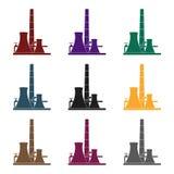 Oljeraffinaderifabrikssymbol i svart stil som isoleras på vit bakgrund Illustration för vektor för oljeindustrisymbolmateriel stock illustrationer