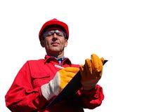 Oljeraffinaderitekniker Over White Royaltyfri Bild