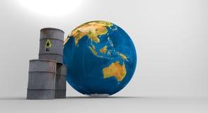 Oljetrumma och världsöversikt planet sparar arkivfilmer