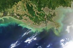 Oljeutsläpp på den Mississippi deltan, arkivbild