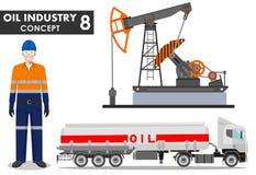 Oljor som flödar inom timglaset Detaljerad illustration av bensinlastbilen, den olje- pumpen och arbetaren i plan stil på vit bak stock illustrationer