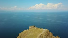 Olkhon Insel auf Baikal See Trieb Arial Dron stock video footage