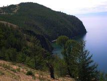 olkhon russia för baikal ölake Förlägger medicinmän Beskåda från bevattna Sommar Baikal Ryssland sjö Royaltyfria Bilder