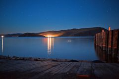 Olkhon wyspa przy nocą Obraz Royalty Free