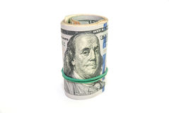 Oll of dollars bills  isolated Royalty Free Stock Image