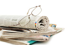 Oll of newspapers, isolated on white background Royalty Free Stock Photos