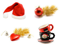 Сollage hat Santa cristmas embellishment. Golden branch and ctramic of the cup on white background. It Is formed from several pictures Royalty Free Stock Photography