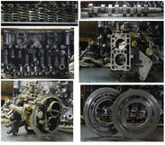 Сollage of mechanical parts. Group details high pressure fuel pump, carburetor from old machines, and special reducer washers Royalty Free Stock Photos