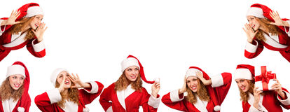 �ollage santa girl issuing a call Royalty Free Stock Photo