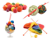 Сollage varicoloured ball for knitting Royalty Free Stock Photography