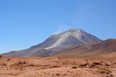 Ollague volcano view from bolivian side. Potosí department. Bolivia Royalty Free Stock Image