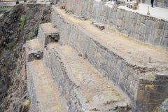 Ollantaytambo的,神圣的谷,主要旅行目的地在库斯科地区,秘鲁的印加人城市考古学站点 免版税库存图片