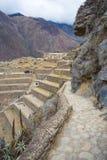 Ollantaytambo的,神圣的谷,主要旅行目的地在库斯科地区,秘鲁的印加人城市考古学站点 库存照片