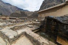 Ollantaytambo的,神圣的谷,主要旅行目的地在库斯科地区,秘鲁的印加人城市考古学站点 免版税库存照片