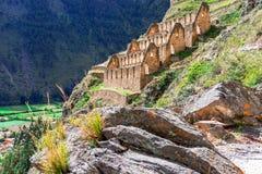 Ollantaytambo, Перу, священная долина: Pinkuylluna, руины старых storehouses Inca стоковое фото