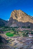 Ollantaytambo -印加废墟和门户向马丘比丘在秘鲁 免版税库存图片