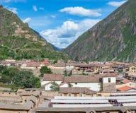 Ollantaytambo -神圣的谷的老印加人堡垒在安地斯,库斯科,秘鲁 图库摄影