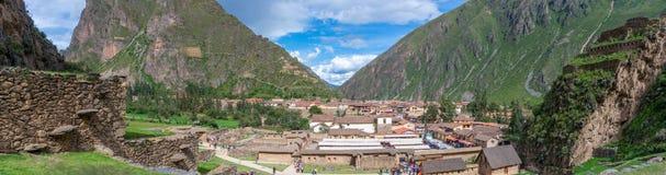 Ollantaytambo -神圣的谷的老印加人堡垒在安地斯,库斯科,秘鲁 库存图片