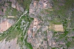 Ollantaytambo -神圣的谷的老印加人堡垒在安地斯, 库存图片