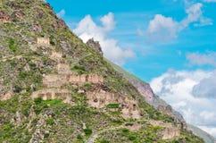 Ollantaytambo -神圣的谷的老印加人堡垒在安地斯, 库存照片