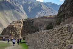 The Ollantaytambo Inca Archaeological Site. In the Sacred Valley Located in Southern Peru Featuring Grain Storage Buildings on the e of the Mountain royalty free stock photo