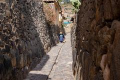 The Ollantaytambo Inca Archaeological Site. In the Sacred Valley Located in Southern Peru stock image