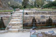 The Ollantaytambo Inca Archaeological Site. In the Sacred Valley Located in Southern Peru stock photography