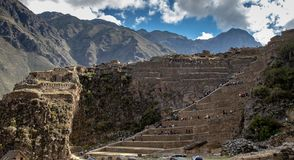 The Ollantaytambo Inca Archaeological Site. In the Sacred Valley Located in Southern Peru stock photo