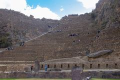 The Ollantaytambo Inca Archaeological Site. In the Sacred Valley Located in Southern Peru royalty free stock images