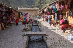 The Ollantaytambo Inca Archaeological Site. Souvenir shops found at the Ollantaytambo Inca archaeological site in the Sacred Valley Located in Southern Peru royalty free stock images