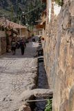 The Ollantaytambo Inca Archaeological Site. Streets along the Ollantaytambo Inca archaeological site in the Sacred Valley Located in Southern Peru royalty free stock images
