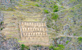 Ollantaytambo inca city ruins wall Stock Photography