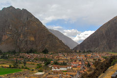 Ollantaytambo - old Inca fortress, Peru. Ollantaytambo - old Inca fortress and town the hills of the Sacred Valley (Valle Sagrado) in the Andes mountains of Peru royalty free stock photography