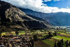 Ollantaytambo - old Inca fortress and town the hills of the Sacred Valley (Valle Sagrado) in the Andes mountains of Peru, South Am Stock Photo