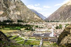 Ollantaytambo - old Inca fortress and town the hills of the Sacred Valley (Valle Sagrado) in the Andes mountains of Peru, South Am Stock Photography