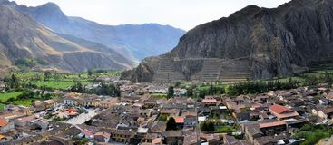 Ollantaytambo old Inca and town, Sacred Valley Stock Images