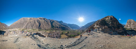 Ollantaytambo-PERU. The ancient fortress of Ollantaytambo. Panorama Royalty Free Stock Photos