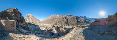 Ollantaytambo-PERU. The ancient fortress of Ollantaytambo. Panorama Royalty Free Stock Image