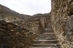 Ollantaytambo, Peru. Inca Fortress ruins on the temple hill royalty free stock photo