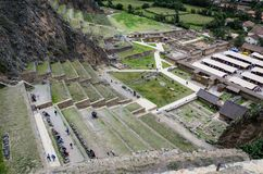 Ollantaytambo, Peru. Inca Fortress ruins on the temple hill stock images