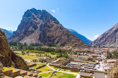Ollantaytambo, Peru, Inca ruins  and archaeological site in Urubamba, South America. It was royal estate of Emperor who conquered during Inca Empire Stock Photography