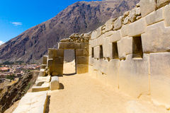 Ollantaytambo, Peru, Inca ruins  and archaeological site in Urubamba, South America. It was royal estate of Emperor who conquered during Inca Empire Stock Image
